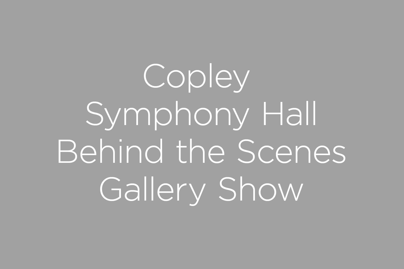Copley Symphony Hall Photography Gallery
